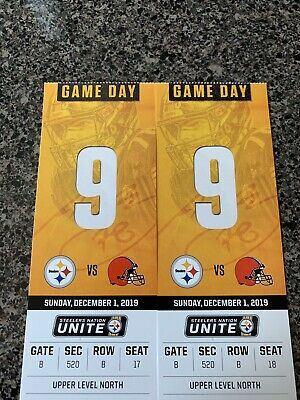Pittsburgh Steelers VS Cleveland Browns 2 Tickets Sect 520