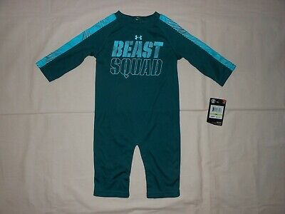 NWT Under Armour Baby Boys techno teal romper outfit, size 3-6M