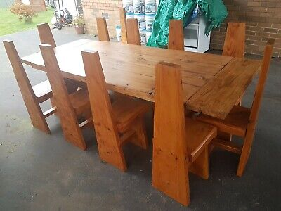 Vintage Gothic Medieval Abbey 12Piece Restored Oregon Dining Suite Wabi Chairs