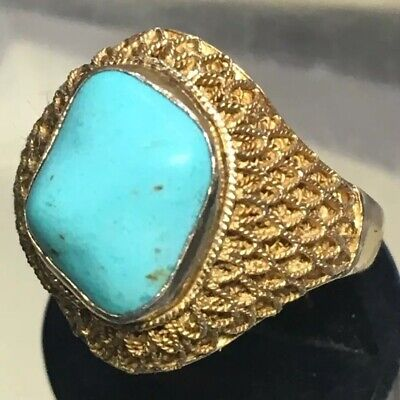 Vintage Chinese Gold Washed Silver Ring With Turquoise Nugget