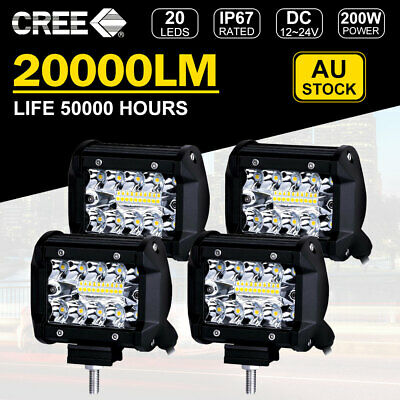 4x 4 inch 200W CREE LED Light Bar SPOT FLOOD 4WD Offroad Work Driving Fog Lamp