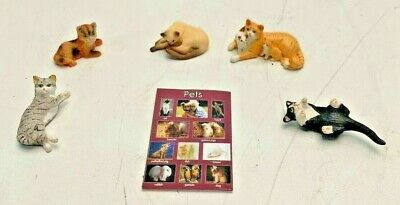VINTAGE MINIATURE 5 Lot Kitty Cat Dollhouse figurines Made in Thailand