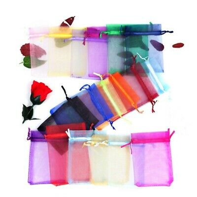100pcs 8 Sizes Sheer Organza Wedding Party Favor Gift Candy Bags Jewelry Pouches