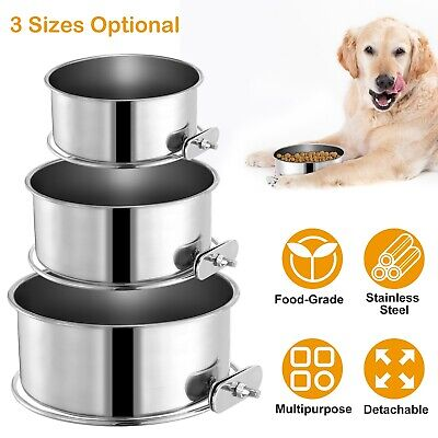 Dog Bowl Hanging Food Water Feeder Pet Cats Birds Bowls Stainless Steel Cage Cup