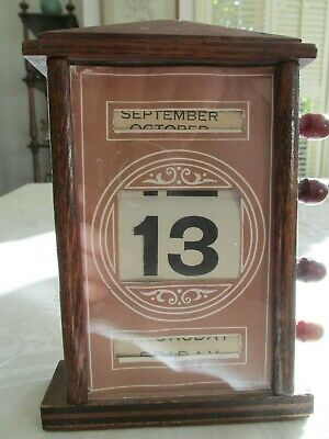 Antique Timber Perpetual Desk or Table Calendar Made in England