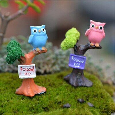 Mini 4pcs Couple Owl Decoration Supplies Moss Micro Landscape Deco Garden Deco