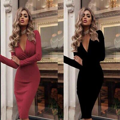 Women's Long Cocktail Evening Party Boho Solid Autumn Long Sleeve Dress Dresses