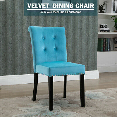 Grey Velvet Dining Chairs Kitchen Seat Chairs Button High Back Chairs Wooden Leg