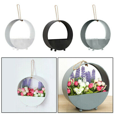 Wrought Iron Wall Hanging Floral Basket Round Flower Plant Pot Holder Home UKD