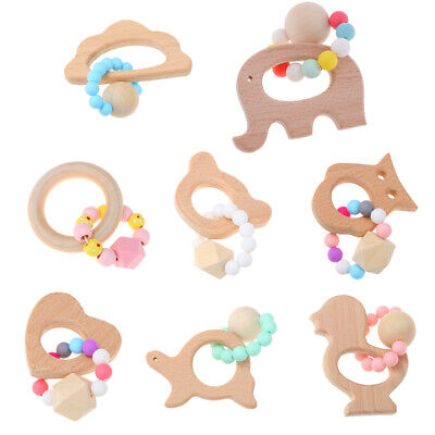 Teething Natural Beech Wood Bracelet Baby Newborn Mom Kids Wooden Teether Toy