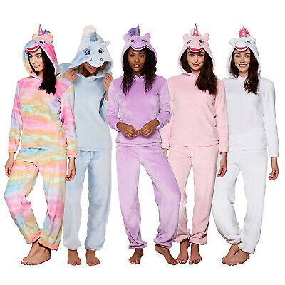 Womens Loungeable 3D Unicorn Twosie Pyjama Set Ladies Novelty Hooded Nightwear