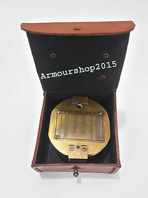 Nautical Marine Collectible Brass Brunton Compass With Red Leather Box