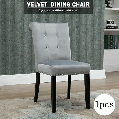 Beige Velvet Dining Chairs Kitchen Seat Chairs Button Wooden Leg High Back Chair