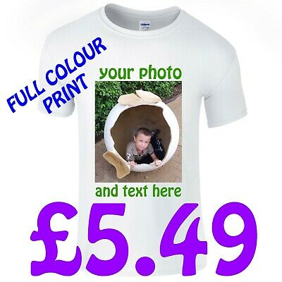 Personalised White T Shirt Custom Print + Your Text / Full Colour / Photo Print