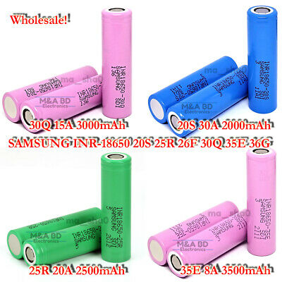 Samsung 18650 2000~3500mAh 10A~30A Rechargeable Mods Flat Top Battery Wholesale