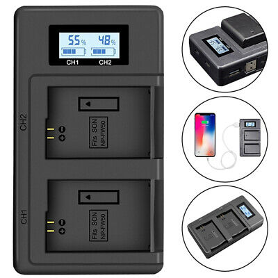 NP-FW50 LCD Camera Battery Dual Charger for Sony Alpha a6500 a6300 a6000