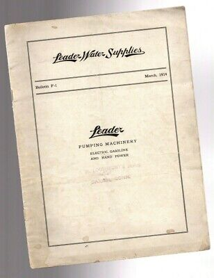 vintage LEADER WATER SUPPLIES Pump Catalog F-1 for Hit?Miss Engines? 1914, NY,IL