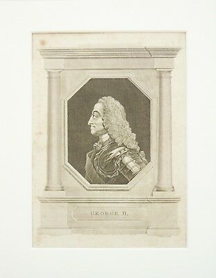 King George II -  Mounted Antique Print c.1800 Copper Plate Engraving