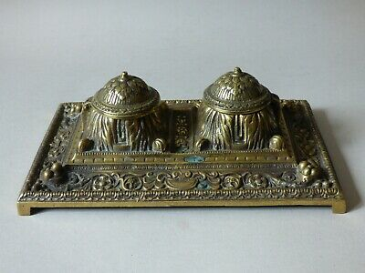 Large Heavy Collectable Brass Writing Desk Top Pen Inkwells Complete Free Uk P+P