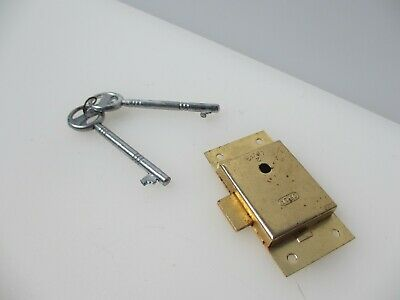 Gold Metal Cabinet Lock Cupboard Chest Drawer Bolt 2 Key Iron NEW / REPRO