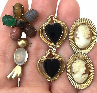 Gold Filled Scrap Lot 15 Grams Vintage Earrings Cameo Carved Scarab Bird 12K Gf