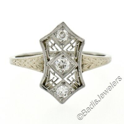 Antique Edwardian 14K Gold & Platinum .17ctw Diamond Open Milgrain Engraved Ring