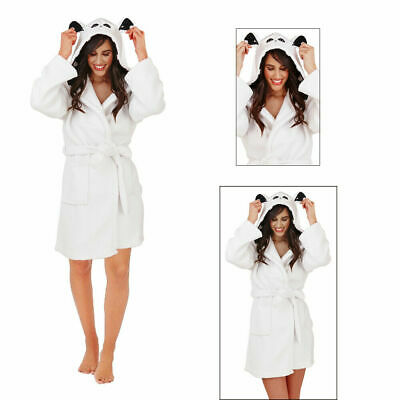 Loungeable Womens Sherpa Bear Robe Ladies 3D Novelty Soft Fleece Dressing Gown
