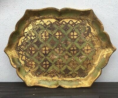 Small Vintage Italian Distressed Florentine Serving Tray