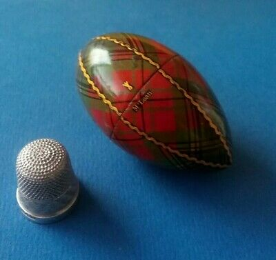Tartan Ware Thimble Case (McLean). Silver Thimble By Henry Griffith & Sons Ltd.