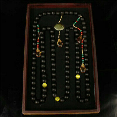 """Collect China wood bead Official clothing""""Chao-Zhu"""" necklace & lacquerware box"""