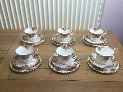 """Collection of six Royal Albert """"Old Country Roses"""" bone china trios"""