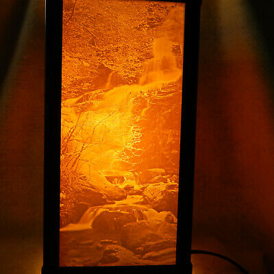 Lithophane Porcelain Garden WATERFALL Luminaire 4 Panel Mission Style Table Lamp
