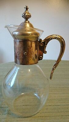 Antique Silver Plated Cut Glass Claret Jug Decanter Pitcher