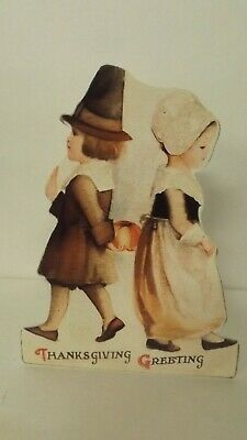Bethany Lowe Thanksgiving Dummy Board Pilgrim Boy And Girl RL9183 New