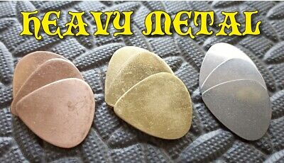 9 HEAVY METAL PLECTRUMS PICKS electric acoustic guitar stainless, copper, brass