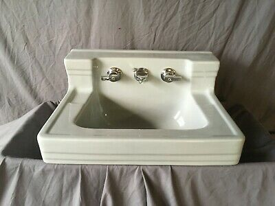 Vtg Light Grey Porcelain Ceramic Deco Bath Sink Standard Shelf Back Old 147-19E