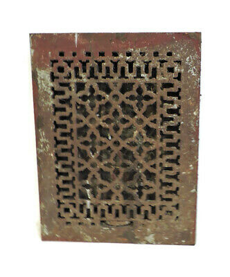 Antique Cast Iron Heating Grate Vent Register Ornate Design 12.25 X 16