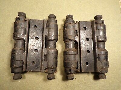 "1 Pair Antique Cast Iron 4"" Double Acting Spring Hinges Door Hinges Heavy Duty"