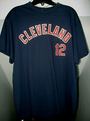 Francisco Lindor #12 Majestic Mlb Cleveland Indians Name/Number Navy T-Shirt Nwt