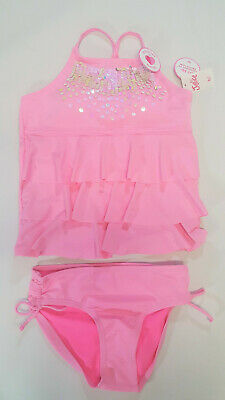 NWT Justice Girls Size 7 14 16 or 18 Pink Ruffle Sequin Tankini Bathing Suit