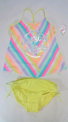 NWT Justice Kids Girls Size 20 Yellow Bright Rainbow Vibes Tankini Bathing Suit