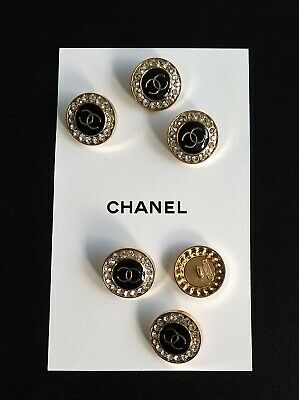 CHANEL BUTTONS set of 10 Metal Gold Tone/Black with Rhinestones!!