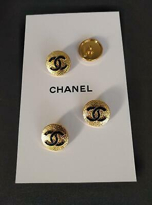 CHANEL BUTTONS set of 10 Metal Gold Tone/Black