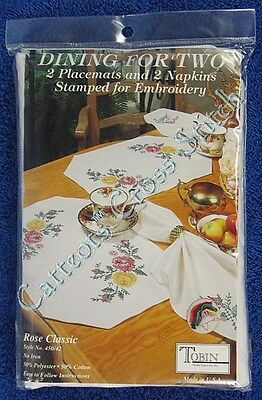 Stamped Cross Stitch Two Placemats & Two Napkins Rose Classic Dining for 2 OOP
