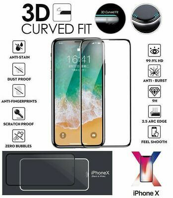 For iPhone Xs Max XR Black 3D Curved Full Screen Protector Tempered Glass Y1