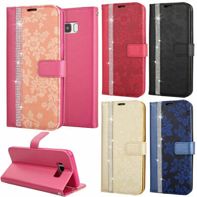 Bling Diamond Magnetic Leather Stand Wallet Case Cover For Samsung Note 8 S7 S9+