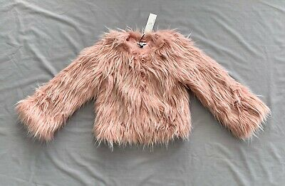 NWT LITTLE MARC JACOBS GIRLS PINK FAUX FUR JACKET / COAT 7 - 8 SZ 8 years