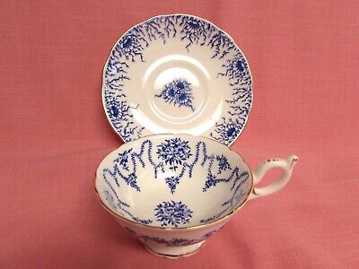 Vintage Coalport Blue Floral Swag Cup & Similar Saucer Gold Trim Bone China 101