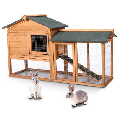 Rabbit Hutch Guinea Pig Bunny Run Outdoor Large 2Tier Chicken Coop Shelter House