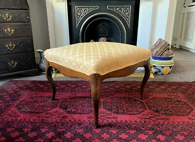 LARGE QUALITY 19thc WALNUT UPHOLSTERED SERPENTINE FOOTSTOOL CHAIR WINDOW SEAT